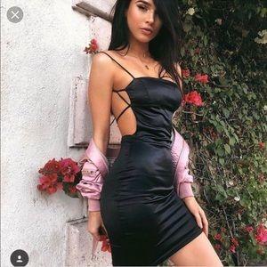 cae288b730ed Oh Polly Dresses | Cutting Shapes Black Satin Mini Dress | Poshmark